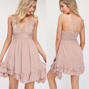 boho khaki v neck crochet lace cami ruffle dress